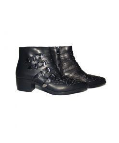 @ ₹800 Women's Black Studded Party Ankle Strap Zip Up Biker Boots