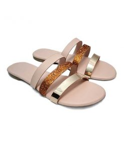Buy ₹730 Women's Footwear Metallic Golden Strap Pink Black Flat Sliders Slippers sandals Free Shipping India