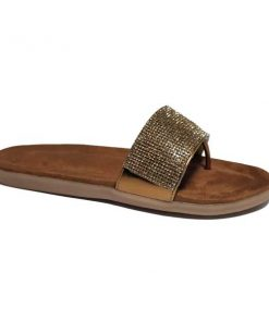 @ ₹600 Women's Footwear Bronze Golden Rhinestone Suede Flat Flats Sliders Slipper Sandals