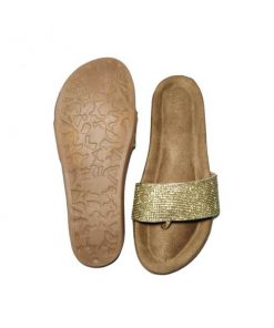 @ ₹600 Women's Footwear Golden Rhinestone Suede Flat Flats Sliders Slipper Sandals
