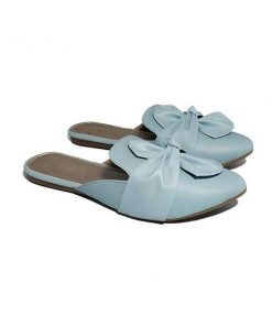 Buy ₹570 Women's Footwear Knotted Bow Blue Flat Mules Slippers Sandals Free Shipping India
