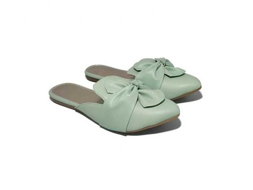 Buy ₹570 Women's Footwear Knotted Bow Green Flat Mules Slippers Sandals Free Shipping India