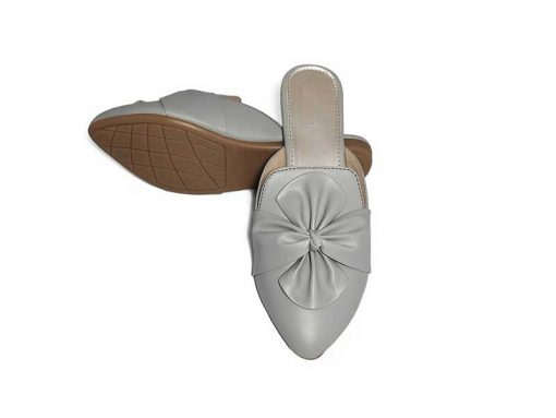 Buy ₹570 Women's Footwear Knotted Bow Grey Flat Mules Slippers Sandals Free Shipping India