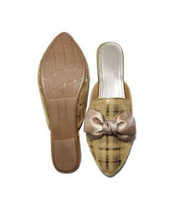 Buy ₹680 Women's Footwear Knotted Bow Metallic Checks Golden Flat Mules Sliders Slippers Sandals Free Shipping India