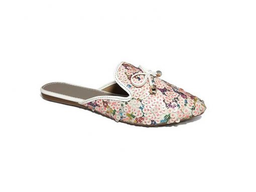 @ ₹650 Women's Footwear Sequin Embellished White Flat Flats Mules Slippers Sandals