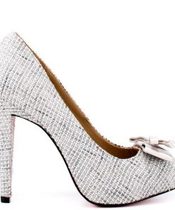 Shoes Etc Paris Hilton Kylie Silver Linen Pumps 1