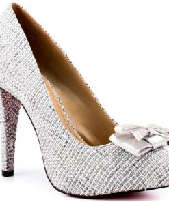 Shoes Etc Paris Hilton Kylie Silver Linen Pumps 2