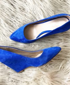 Shoes Etc Pour la Victoire Mai Blue Suede Wedge Pump 1